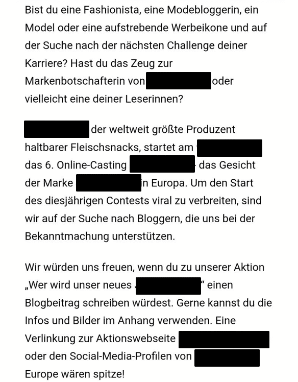 blogger kooperationsanfrage-massenmail
