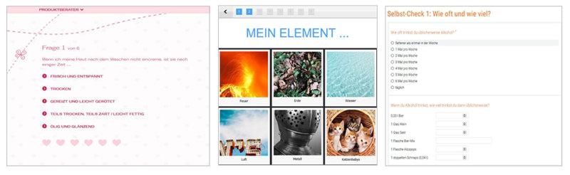 Beispiele für Selbsttests als interaktive Inhalte