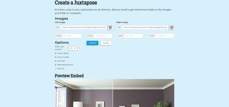 Screenshot des Tools JuxtaposeJS