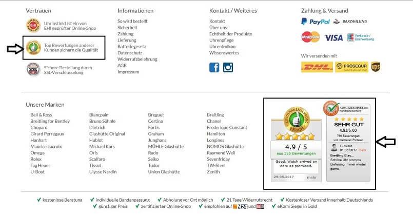 Siegel von Bewertungsanbietern im Online Shop