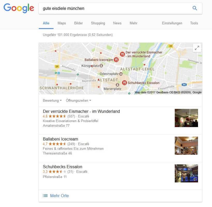 lokale Suchergebnisse mit Bewertungssternen