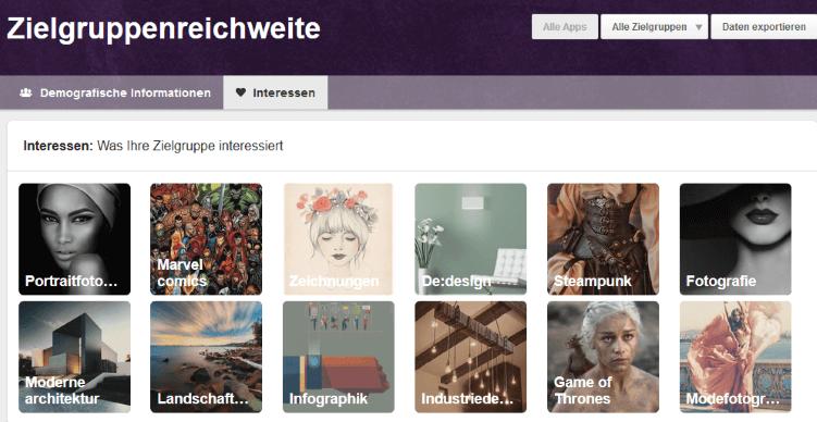 Pinterest Analytics zeigt die Zielgruppenreichweite und Themen, für die sich die Zielgruppe interessiert.