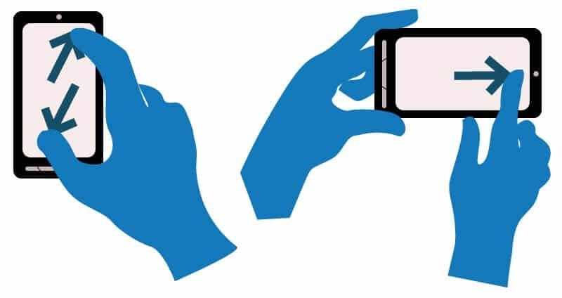 unterschiedliche Gesten von Smartphonenutzern