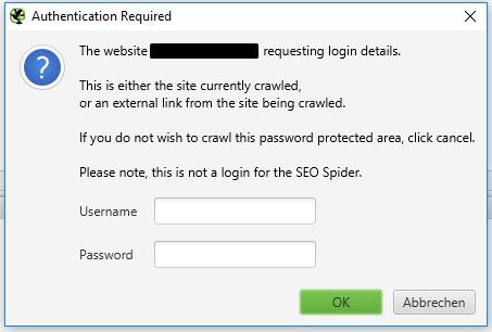 crawl passwortgeschützte bereiche