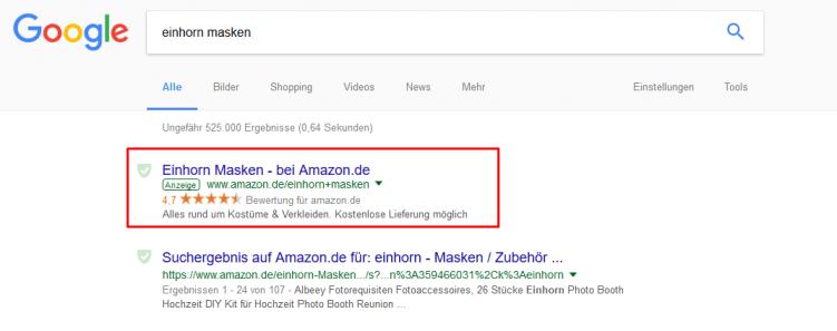 AdWords-Anzeige im Suchnetzwerk.