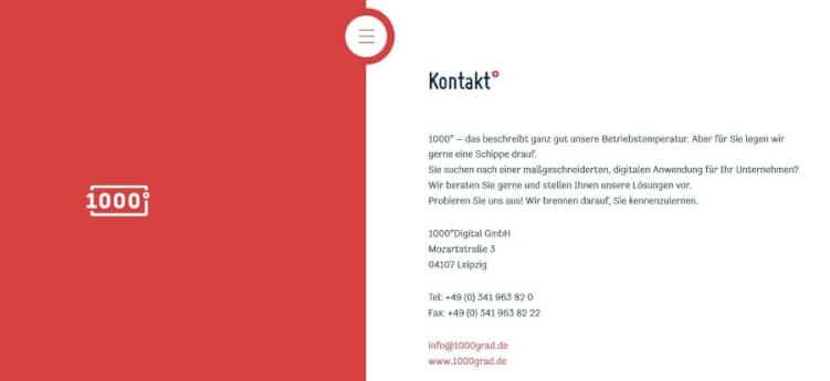 Kontaktseite einer Agentur