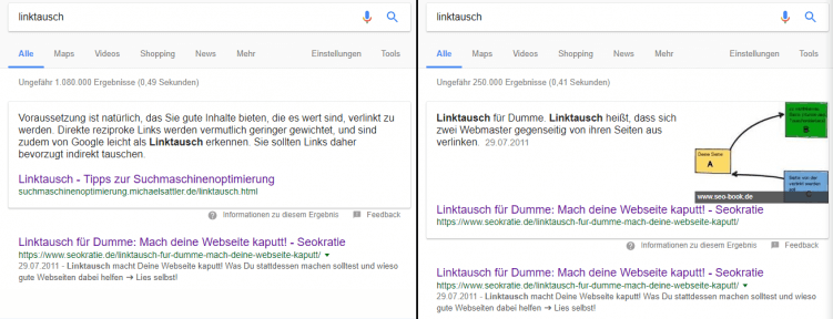 linktausch featured snippet