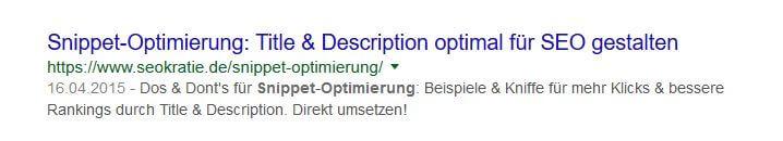 Snippet zu Artikel für Snippet-Optimierung