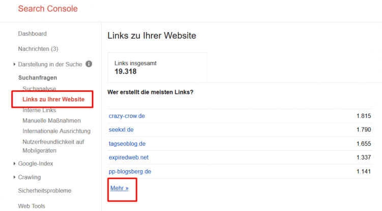 Google Search Console Links zu Ihrer Webseite