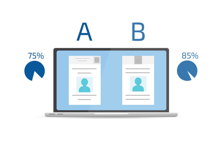 A/B Split-Test zum Vergleich zweier Webseiten