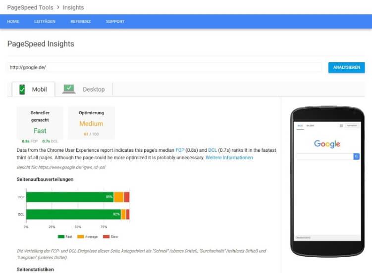 Seiten-Ladezeiten mit Google Pagespeed testen