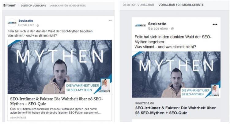 Desktop Vorschau und Mobile Vorschau von Facebook Beiträgen