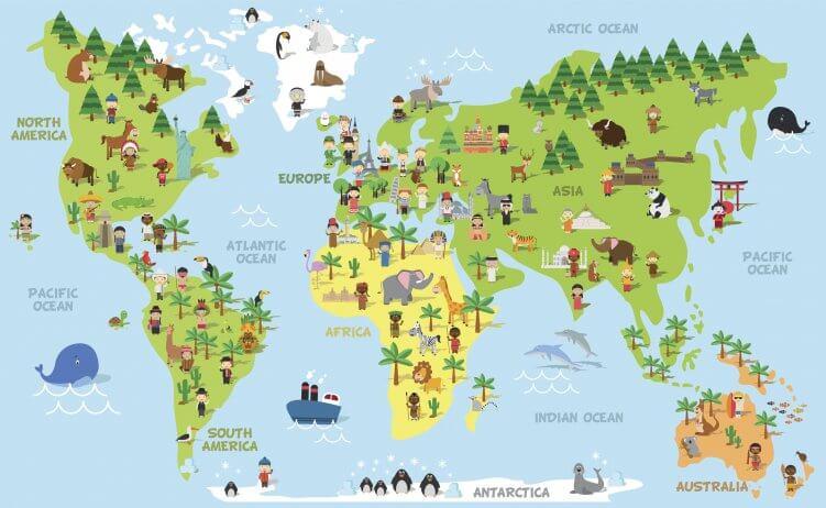 Lustige Illustration zeigt Heimat Menschen und Tiere.