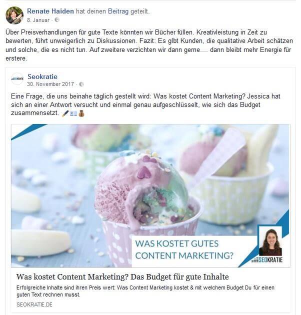 """Unser Artikel """"Was kostet gutes Content Marketing"""" scheint unsere Leser auf persönlich sehr zu beschäftigen und wird weiterhin immer wieder auf Facebook geteilt."""