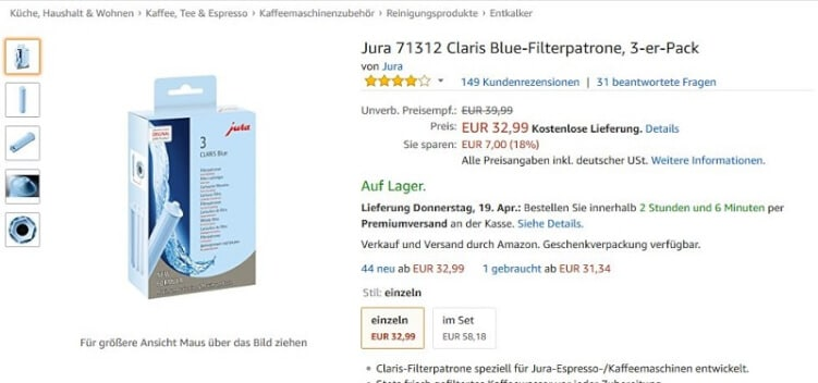 Versandinformationen bei Amazon