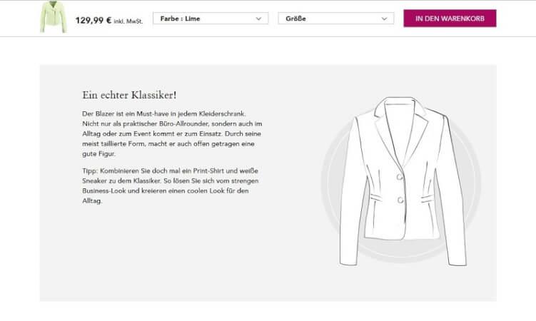 Kaufberatung auf einer Produktseite