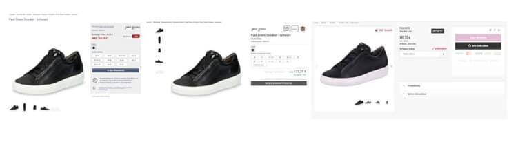 drei Produktseiten mit einem schwarzen Sneaker