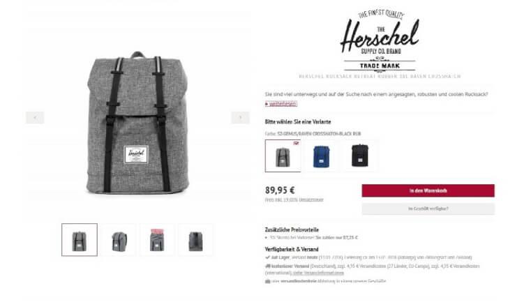 Rucksack auf einer Produktseite