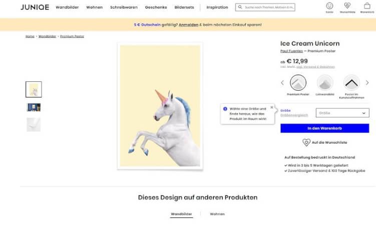 Produktseite von Junique