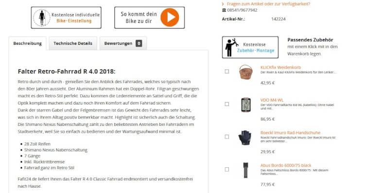 Empfehlungen für Zubehör im Online Shop