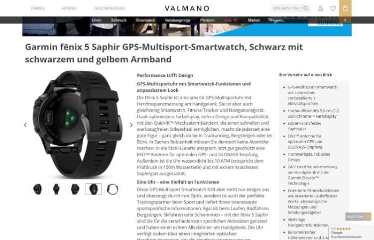 Produkttext zu einer Smart Watch