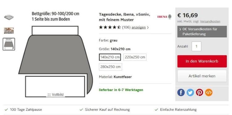 Illustration auf einer Produktseite