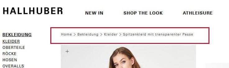 Breadcrumb-Navigation auf einer Produktseite
