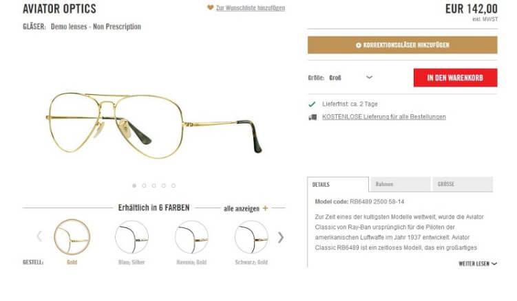 Brille auf einer guten Produktseite