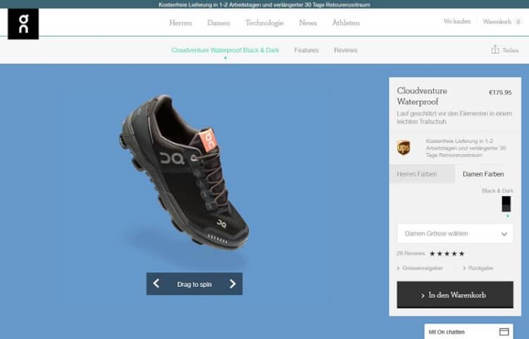 Laufschuh-Produktseite