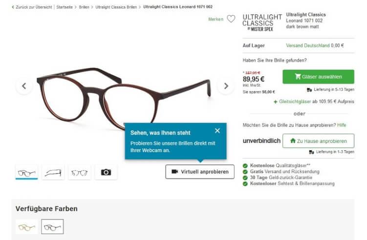 Produktseite eines Brillen-Shops