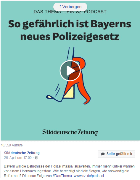 SZ-Podcast-Teaser auf Facebook