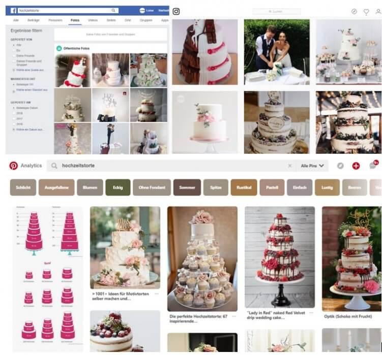 Bilderergebnisse für Facebook, Instagram und Pinterest.