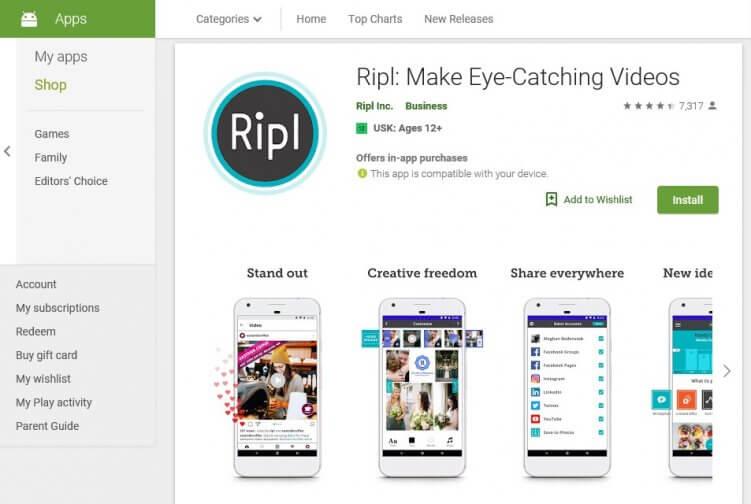 App zur Erstellung von Slideshow-Videos: Ripl