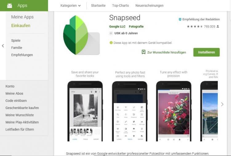 App zur Bildbearbeitung: Snapseed