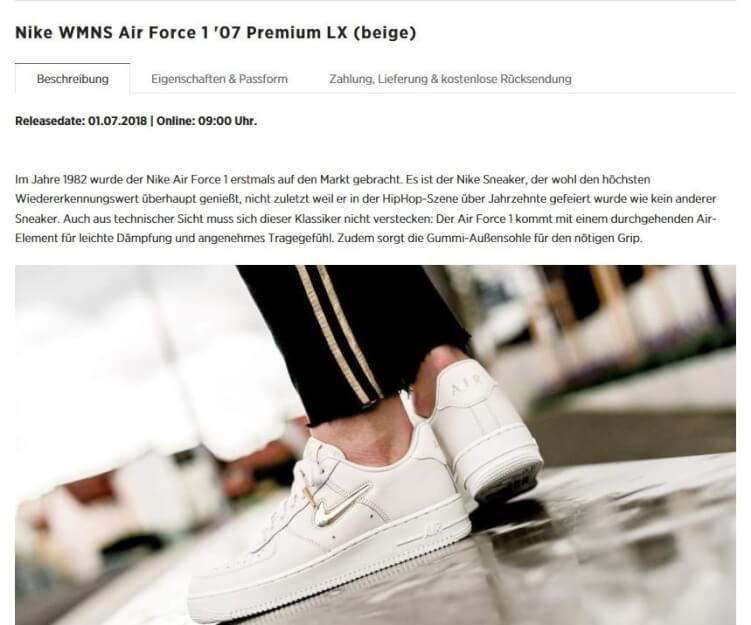 Produktseite mit Nike-Sneakern