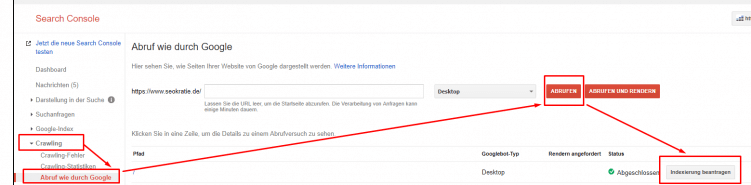 Google Search Console Crawling anstoßen