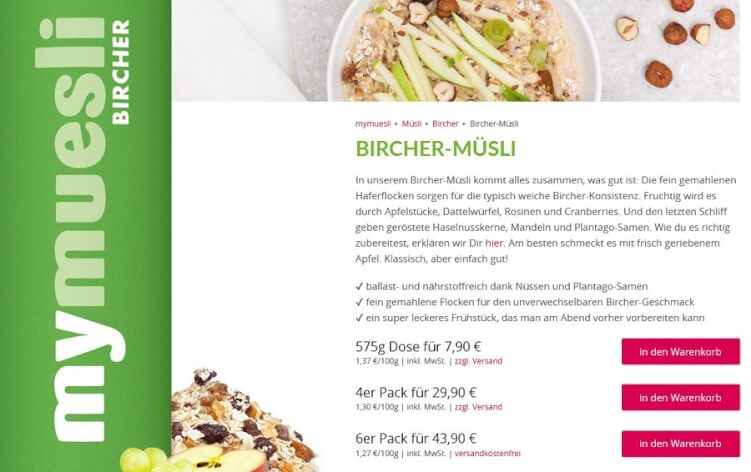 Produktbeschreibung Bircher Müsli