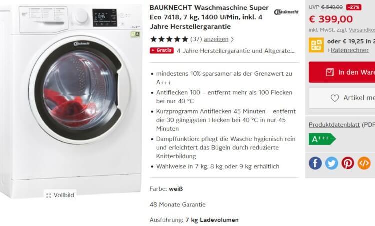 Waschmaschinen-Produktseite von otto.de
