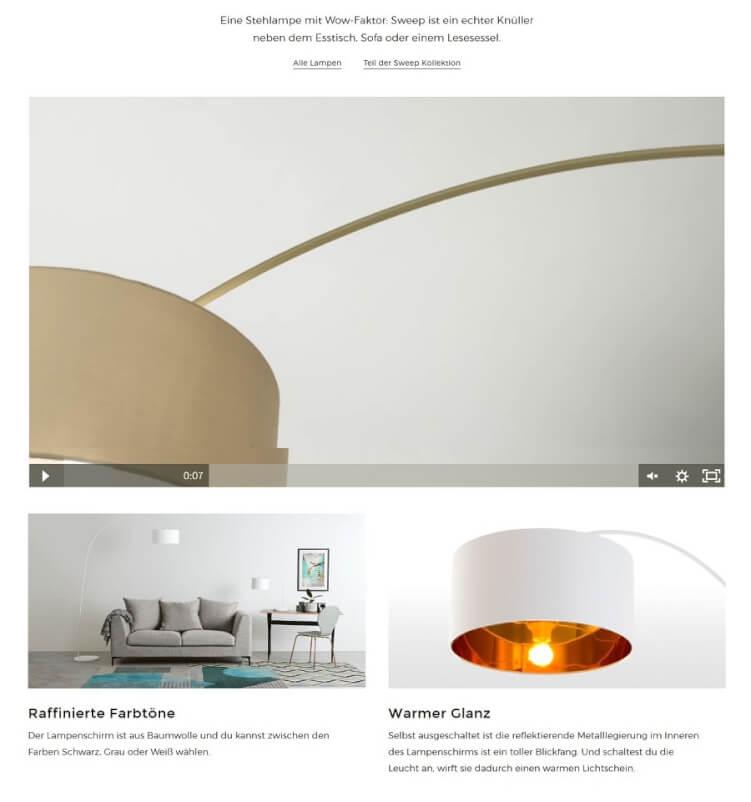 Produktseite mit großen Bilder einer Stehlampe und wenig Text