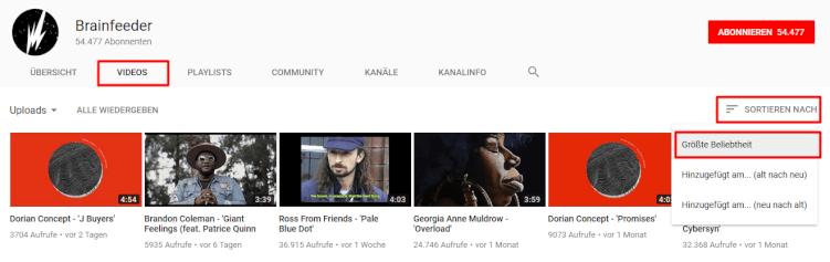 youtube-sortierung-nach-grösster-beliebtheit