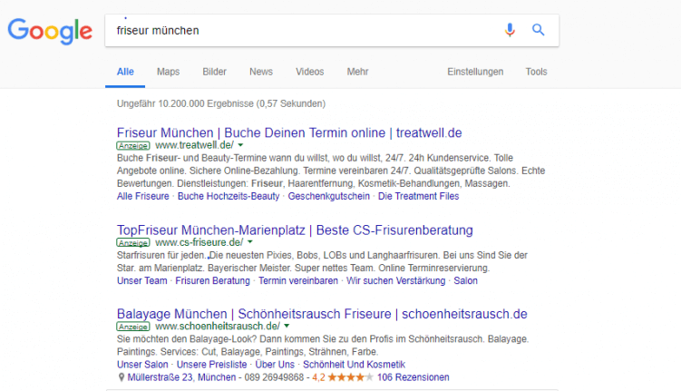Screenshot von bezahlten Suchergebnissen
