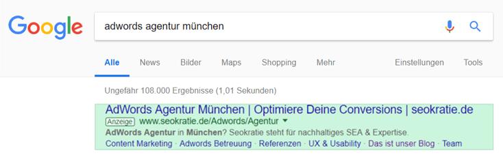 Screenshot einer Google Ads Anzeige