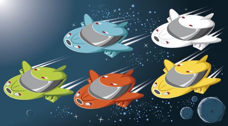 Bild mit Raumschiffen
