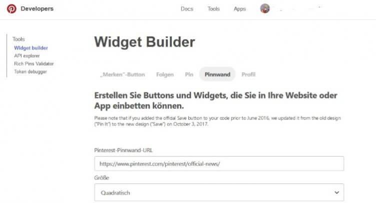 Im Widget Builder kannst Du festlegen, wie die Pinnwand etc. auf der Webseite dargestellt werden soll.