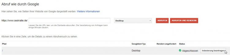 abruf durch google indexierung beantragen