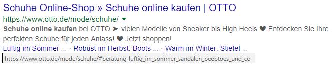 Beispiel Sprungmarken in Sitelinks
