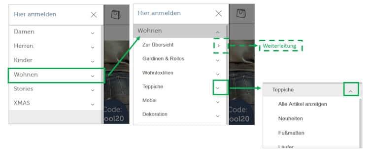 mobiles Menü mit Unterkategorien