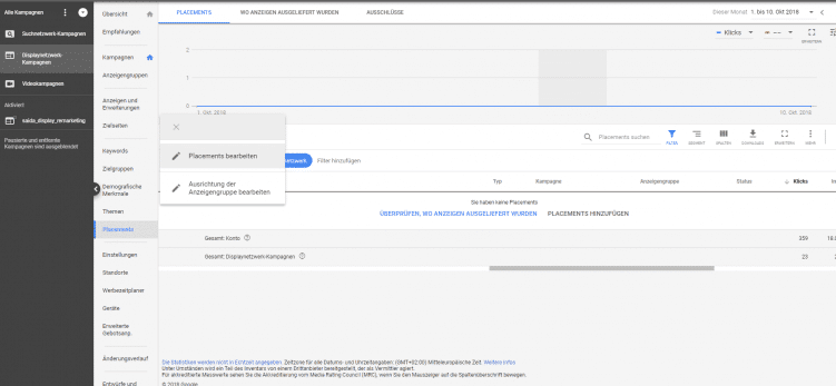Screenshot aus dem Google Ads Interface zur Auswahl von Placements bei Display Kampagnen