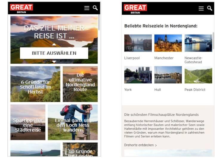 anklickbare Bild-Kacheln auf mobiler Website