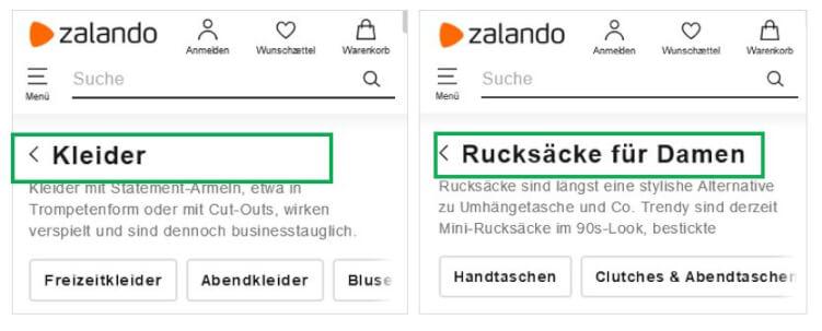 Beispiel Seitenüberschriften auf mobiler Website